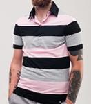 Поло Time of Style - 4004/1 (серый-розовый)