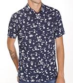 Рубашка Time of Style - 3143 (синий/пальмы)